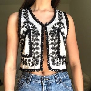 Amuse Society B&W Beaded Top